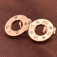 Wholesale Roman Numerals Numbers - New Style Original Design Top Quality Women's Unique Roman Numeral Stamp Diamond Earrings Studs Titanium steel Plated 18K Rose Gold Earrings