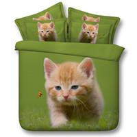 ingrosso set letto comodino set da letto regina verde-Nuovo arrivo Cute Cat Bedding Set Verde 3D Animal stampato Set consolatore Queen Size Copripiumino Lenzuolo Federa
