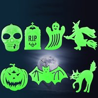 Wholesale Haunted Bar Decorations - Halloween Props Bar Haunted House Chambers Wall Stickers Luminous Sticker Scary Skeleton Pumpkin Witches Cat Halloween Party Decoration