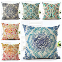 Wholesale black sofa beds - rustic floral cushion cover shabby chic ethnic home decor boho sofa bed throw pillow case vintage fundas cojines