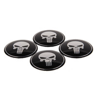 Wholesale Volvo Stickers - 56.5mm Car Styling Punisher Skull Car Wheel Center Cover Sticker For BMW Ford Chevrolet Volkswagen Audi Opel Volvo Mazda Citroen Renault KIA