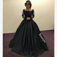 Wholesale Graceful Dresses Black Lace - Graceful Black Princess Evening Dresses Long Sleeves Sheer Lace Beaded Appliques Scoop Ruched Ball Gown Party Gowns Formal Prom Dress
