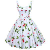 Wholesale Retro Cherry Dress - Retro Vintage 1950s 60s Rockabilly Dress 2017 Strapless Audrey Hepburn Style Big Swing Sexy Backless Cherry Print Summer Dresses