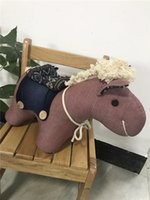 Wholesale Pony Material - Stuffed Animal Pink Chenutan pony Handmade Denim Plush Animal Pony Horse Cute Environmental Demin Fabric Filling Plush Material