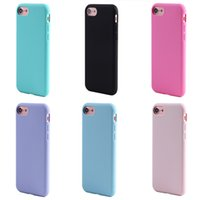Wholesale Soft Jelly Cases For Iphone - Candy Soft Silicone case for iphone 7 6 6S Plus 5 5S SE Jelly Color Cover with hand Strap rope Hole Pink Rose