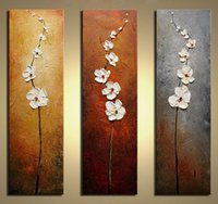 Wholesale flowers pieces arts painting pictures resale online - 3 Pieces Pure Hand Painted Modern Abstract Art Oil Painting Flowers Dancing Petals Home Wall Decor On High Quality Canvas in custom sizes