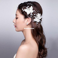 Wholesale wedding bridal tiaras butterfly - Red White Butterfly Lace Pearls Hairpins Wedding Hair Accessories Hair Jewelry Bridal Pearl Beads Head Jewelry For Bride Tiara Headdress
