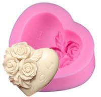 amor de azúcar al por mayor-DIY rosa y en forma de corazón molde de pastel de fondant de azúcar Hecho a mano molde para hornear el día de San Valentín