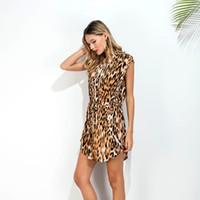 Wholesale Dresses Bands - Womens t shirt Dress Leopard Print Frenulum Zipper Waist Band Stand Neck Designs Loose Pencil Dress