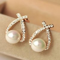 Wholesale Nice Shops - Nice shopping!! 2015 Fashion Gold Crystal Stud Earrings Brincos Perle Pendientes Bou Pearl Earrings For Woman