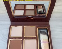 Wholesale New Arrival Nude Eyeshadow Palette - New arrival FACED COCOA Contour GLOW Kit Highlighters Palette Nude Color Concealer Makeup Chocolate Eyeshadow with Buki Brush