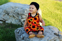 Wholesale Sunflower Romper - 2017 Summer Babies Romper Hot Baby Girl Flower Rompers Cute Floral Sunflower Jumpsuits Overalls Infant Toddler Bodysuits 0-4T