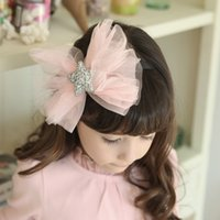Wholesale Korean Girl Band Fashion - Girls hair band children sequins stars accessories korean style tulle BOW headdress 2017 fashion new photography accessories T0670