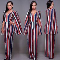 Wholesale Casual Long Jumpsuits - chic style cloak shoulder backless deep v neck full length long jumpsuit for mature women