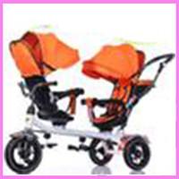 Wholesale Tricycle Stroller Bike - Children Tricycle Twins Baby Stroller Double Three Wheel Bike Stroller Swivel Seat Pram Pushchair Changing Sunshade Bicycle