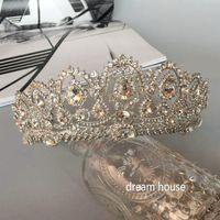 Wholesale Korean Princess Photo - Woman headdress hair Korean luxury queen diamond, silver big crown, European style retro palace princess, photo studio, wedding dress access