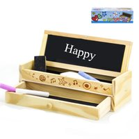 Wholesale Drawing Wooden Box - Creative Stationery Wooden Pencil Case Multifunctional Wood Blackboard Drawer Large Capacity Stationery Box Natural style pencil box