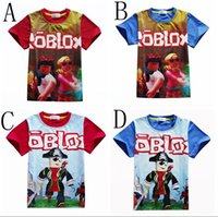 Wholesale Kids Clothes Girls Boys T shirts Cosplay Roblox Printed Cotton T shirts Costume Child Casual Tees Cotton Baby Tops