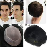 Wholesale Hair Systems For Men - Fast shipping 6x8 7x9 Indian Mono based Toupee for men with Tansparent PU Around Quality Hair Piece Replacement System Natural Hairline