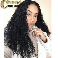 Wholesale 12 13 Wig - Virgin Indian humanhair lace front wigs unprocessed lace wigs for african americans 13*6 lace front 150% density natural color tight curly
