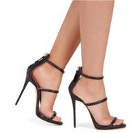 zapatos de vestir estrechos de las señoras al por mayor-Sex Lady Thin High Heels Banda estrecha Zapatos de vestir para mujer Sandalias Bombas de boda Sandalias Femininas Tacones de novia Volver Ziper