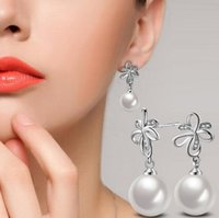 Wholesale Nest Earrings - Qiao nest jewelry Korean jewelry fashion trend of white gold pearl two - color earrings