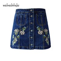 Wholesale Summer Jean Shorts Womens - Summer Mini Jean Skirt For Womens Vintage Sexy Wrap Short High Waist Skirts Female Embroidered Floral Cotton Denim Blue Cowgirl