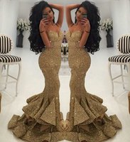 Wholesale Cheap Sexy Bling Dresses - 2017 Cheap Long Prom Dresses Luxurious Gold Sweetheart Sequins Mermaid Spaghetti Straps Draped Ruffles Bling Evening Gowns for Pageant Party