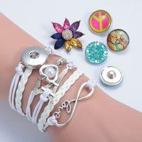Wholesale Men S Infinity Bracelet - NOOSA Ginger snap Button bracelets women's infinity owl LOVE wing crown Charm leather wrap bracelet For men s Fashion Jewelry Hot sale