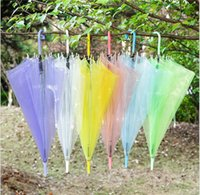 Wholesale Umbrellas Custom - 2017 Transparent Clear Umbrella Dance Performance Long Handle Umbrellas Beach Wedding Colorful Umbrella for Men Women Kids Custom Umbrellas