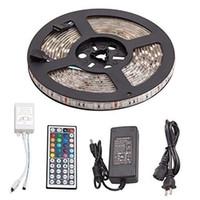 rgb uzaktan güç kaynağını kaldırıyor toptan satış-LED Şerit Işıklar TV PC Arka Plan Işığı Gece Işığı Kiti Reching Su Geçirmez SMD 5050 RGB 44key Uzaktan Kumanda Ve Güç Kaynağı Ile