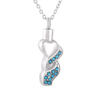 Wholesale cremation jewelry heart necklace - ijd9841 Stainless steel Charm Clear Blue Crystal Cremation Jewelry Pendants For Pet Adult Ashes Heart Urn Necklace Free Shipping