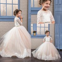 Wholesale Ups Tutu - Tutu Lace Flower Girls Dresses With Half Sleeves Appliques Sash Crystal Girls Pageant Dress Lace-Up And Hollow Back Kids Communion Dress
