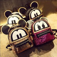 Wholesale Leather Big Travel Bag - Wholesale- Sequins Mickey big ears Women Backpack High quality PU leather Girl Cute cartoon college wind school bag Travel Books Rucksack