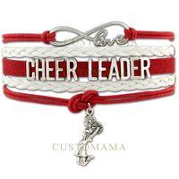 Wholesale Cheer Charm Silver - Custom-Infinity Love Cheerleader Charm Wrap Braided Bracelet Cheer Cheering Wrap Braided Leather Adjustable Bracelet Bangles-Drop Shipping