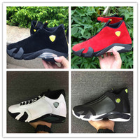 Wholesale Retro Size 14 - Original High Quality Air Retro 14 Men Basketball Shoes 14s Fusion Varsity Red Suede Thunder Black XIV Playoffs Sneakers size 40-47