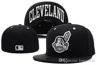Wholesale Close Fit - Closed Indians Baseball Front Logo Alternate Fitted Hats wicks away sweat Adult Sport Fit Caps