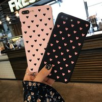 Wholesale Cute Protective Iphone Cases - South Korea pink cute love phone case cover for iPhone 6s phone shell for iPhone 7Plus hard shell protective case