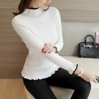 Wholesale thick white women sweater - new autumn winter half Korean women's sweater black white slim turtle neck long sleeve Pullover flounce thick backing
