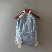 Wholesale japanese women backpack - Wholesale- Japanese college wind denim backpack solid casual travel bag couple shoulder bag school bags for girls deep blue and light blue