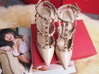 Wholesale Toes Sandals Women - The new 2017 Women Rockstud pointed rivet ivory white color high-heeled Women valentine T-strap across instep wedding Sandals