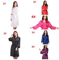 Wholesale Wholesale Bridesmaid Dresses Sleeves - 10pcs 6colors Hot Sale Women Fashion Satin Silk Nightgown women Wedding Bride Bridesmaid Sleep Dress Robes M028
