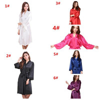Wholesale Wholesale Sexy Wedding Dresses - 10pcs 6colors Hot Sale Women Fashion Satin Silk Nightgown women Wedding Bride Bridesmaid Sleep Dress Robes M028
