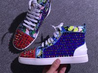 Wholesale Studs Spikes Dress - 2017 Lovers High Quality High Top Spikes Sneakers Shoes Red Bottom Shoes Men Casual Outdoor Studs Trainer Women Party Dress