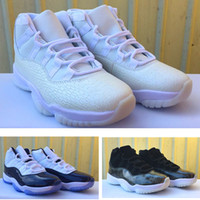 Wholesale Mens High Top Tennis Shoes - New Retro XI 11s Midnight Navy Mens high top basketball shoes Sneaker barcons Frost White athletic training tennis shoes size 36-47