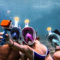 Wholesale Face Equipment - 180 Full Face Snorkel Diving Mask With Panoramic View Anti-Fog With Adjustable Swimming Mask Head Straps Snorkeling Outdoor Equipment