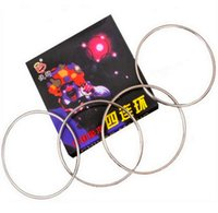 Wholesale Magic Wholesale Toys China - Factory price Chinese Linking Rings 4 Rings Metal Magic Props Tricks China with Instructions Party Festival show as gift with instruction