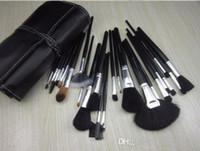 Wholesale Wholesale Brand Named Logos - Black Brushes for Makeup M Brand Brushes Set 24 Pcs Black Professional Cosmetics Brush Kits Make Up Tools with English Name Logo