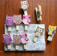 Wholesale Paper Pins - Hot 10Pcs Pack Mini owl Wooden Clothes Photo Paper Peg Pin Clothespin Craft Postcard Clips Home wedding Decoration With Rope