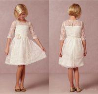 Wholesale Simple Flowergirl Dresses - 2017 Half Sleeve Lace Flower Girl Dresses Knee-length Fairy Lady Flowergirl Little Keyhole Sheer Back Simple Girl Party Dress Gown